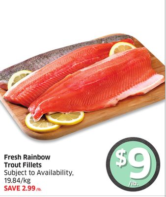 Fresh Rainbow Trout Fillets Subject To Availability - 19.84/kg