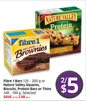 Fibre 1 Bars 125 - 200 g or Nature Valley Squares - Biscuits - Protein Bars or Thins 148 - 190 g - Selected