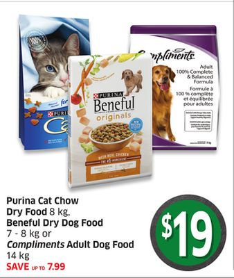 Purina Cat Chow Dry Food 8 Kg - Beneful Dry Dog Food 7 - 8 Kg or Compliments Adult Dog Food 14 Kg