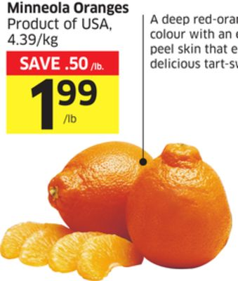 Minneola Oranges Product of USA - 4.39/kg