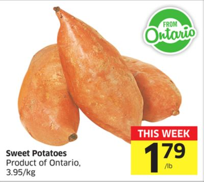 Sweet Potatoes Product of Ontario - 3.95/kg
