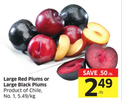 Large Red Plums or Large Black Plums Product of Chile - No. 1 - 5.49/kg