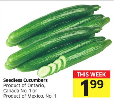 Seedless Cucumbers Product of Ontario - Canada No. 1 or Product of Mexico - No. 1