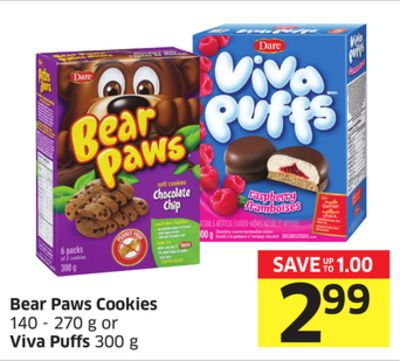 Bear Paws Cookies 140 - 270 g or Viva Puffs 300 g
