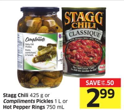 Stagg Chili 425 g or Compliments Pickles 1 L or Hot Pepper Rings 750 mL