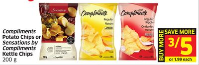 Compliments Potato Chips or Sensations By Compliments Kettle Chips 200 g