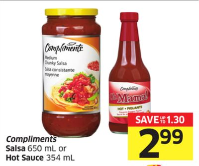 Compliments Salsa 650 mL or Hot Sauce 354 mL