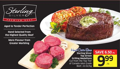 Hand Cut In Store Sterling Silver Top Sirloin Grilling Medallions Cut From The Top Tier of Canada Aaa Grade Beef - 22.02/kg