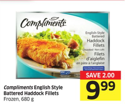 Compliments English Style Battered Haddock Fillets Frozen - 680 g