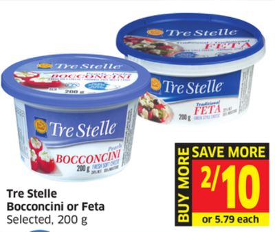 Tre Stelle Bocconcini or Feta Selected - 200 g