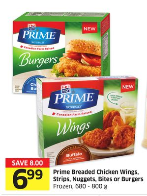 Prime Breaded Chicken Wings - Strips - Nuggets - Bites or Burgers Frozen - 680 - 800 g