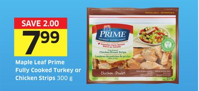 Maple Leaf Prime Fully Cooked Turkey or Chicken Strips 300 g - 75 Air Miles Bonus Miles