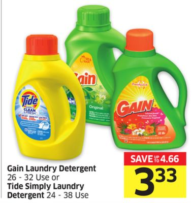 Gain Laundry Detergent 26 - 32 Use or Tide Simply Laundry Detergent 24 - 38 Use