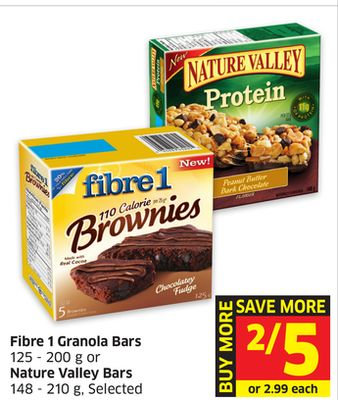 Fibre 1 Granola Bars 125 - 200 g or Nature Valley Bars 148 - 210 g - Selected