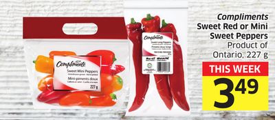Compliments Sweet Red or Mini Sweet Peppers Product of Ontario - 227 g