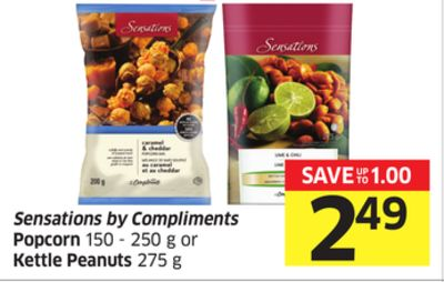 Sensations By Compliments Popcorn 150 - 250 g or Kettle Peanuts 275 g