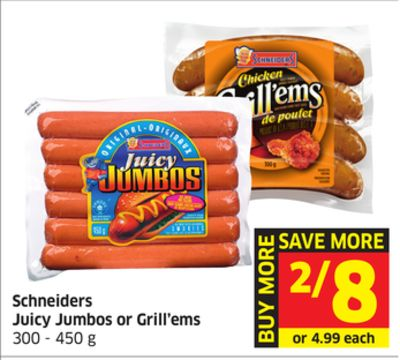 Schneiders Juicy Jumbos or Grill'ems 300 - 450 g