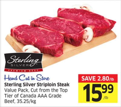 Sterling Silver Striploin Steak Value Pack - Cut From The Top Tier of Canada Aaa Grade Beef - 35.25/kg