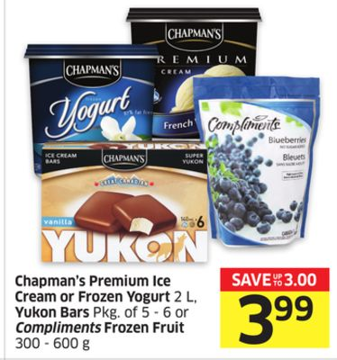 Chapman's Premium Ice Cream or Frozen Yogurt 2 L - Yukon Bars Pkg of 5 - 6 or Compliments Frozen Fruit 300 - 600 g