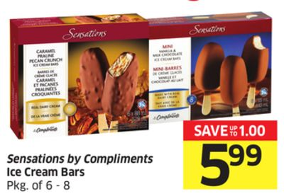 Sensations By Compliments Ice Cream Bars Pkg of 6 - 8