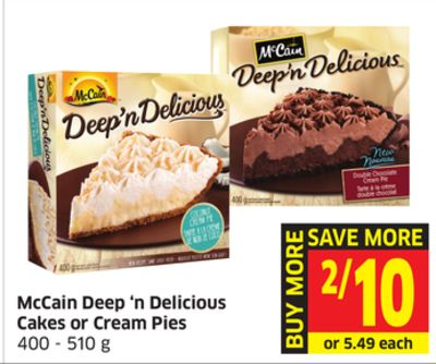 Mccain Deep 'N Delicious Cakes or Cream Pies 400 - 510 g