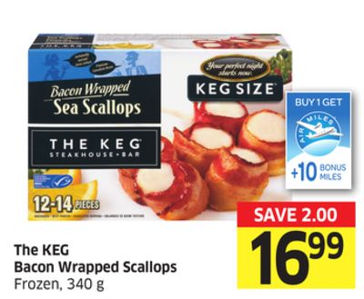 The Keg Bacon Wrapped Scallops Frozen - 340 g - 10 Air Miles Bonus Miles