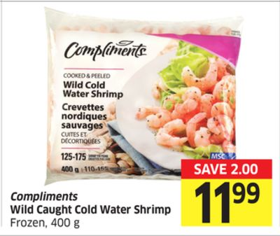 Compliments Wild Caught Cold Water Shrimp Frozen - 400 g