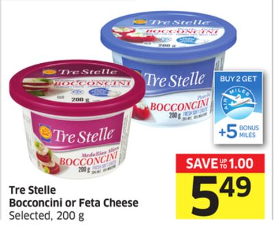 Tre Stelle Bocconcini or Feta Cheese Selected - 200 g - 5 Air Miles Bonus Miles