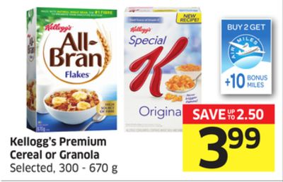 Kellogg's Premium Cereal or Granola Selected - 300 - 670 g - 10 Air Miles Bonus Miles