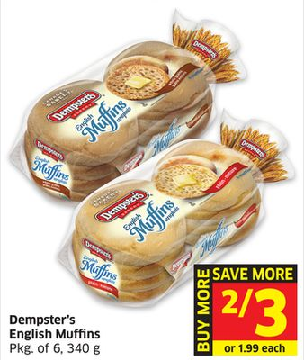 Dempster's English Muffins Pkg of 6 - 340 g