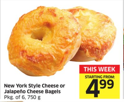 New York Style Cheese or Jalapeño Cheese Bagels Pkg of 6 - 750 g