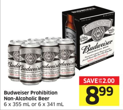 Budweiser Prohibition Non-alcoholic Beer 6 X 355 mL or 6 X 341 mL