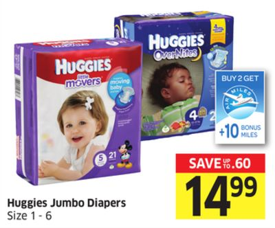 Huggies Jumbo Diapers Size 1 - 6 - 10 Air Miles Bonus Miles
