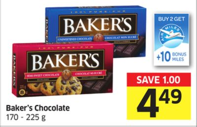 Baker's Chocolate 170 - 225 g - 10 Air Miles Bonus Miles