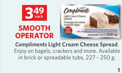 Compliments Light Cream Cheese Spread 227 - 250 g