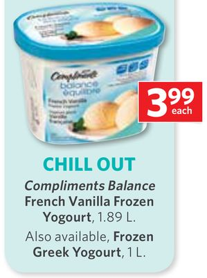 Compliments Balance French Vanilla Frozen - Yogourt - 1.89 L.