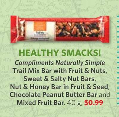 Compliments Naturally Simple Trail Mix Bar With Fruit & Nuts - Sweet & Salty Nut Bars - Nut & Honey Bar In Fruit & Seed - Chocolate Peanut Butter Bar and Mixed Fruit Bar - 40 g