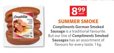 Compliments German Smoked Sausage - Compliments Smoked Sausages - 1kg