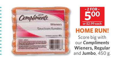 Compliments Wieners - Regular and Jumbo - 450 g