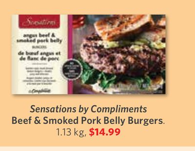 Sensations By Compliments Beef & Smoked Pork Belly Burgers. 1.13 Kg