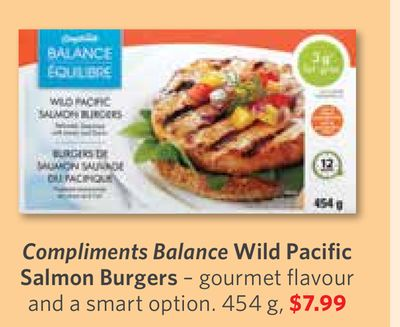 Compliments Balance Wild Pacific Salmon Burgers – Gourmet Flavour and A Smart Option. 454 g