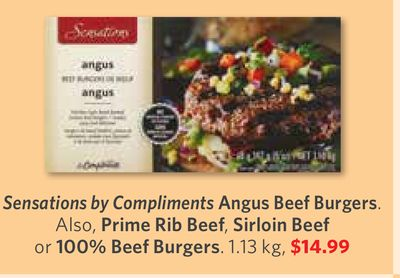 Sensations By Compliments Angus Beef Burgers. Also - Prime Rib Beef - Sirloin Beef or 100% Beef Burgers. 1.13 Kg