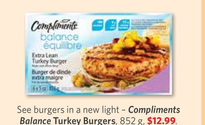 Compliments Balance Turkey Burgers - 852 g