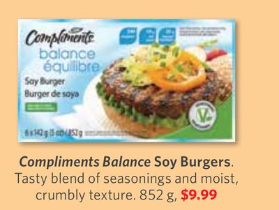 Compliments Balance Soy Burgers - 852 g