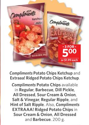 Compliments Potato Chips Ketchup and Extraaa! Ridged Potato Chips Ketchup