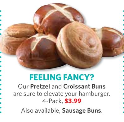 Pretzel and Croissant Buns - 4-pack - Also Available - Sausage Buns.