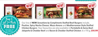 Sensations By Compliments Stuffed Beef Burgers - Poutine - Spicy Nacho Cheese - Mozz-amore and Mediterranean Style Stuffed Chicken Burgers - Portobello & Swiss Beef - Jalapeño & Cheddar Beef and Bacon & Cheddar Stuffed Chicken. 6 X 170 g