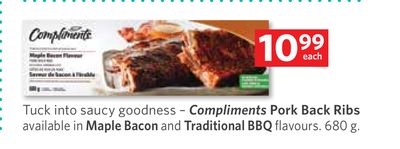 Compliments Pork Back Ribs Available In Maple Bacon and Traditional Bbq Flavours. 680 g
