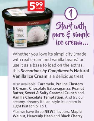 Sensations By Compliments Natural Vanilla Ice Cream