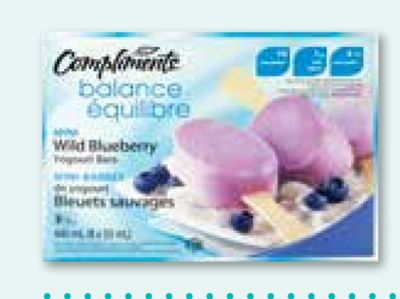 Compliments Balance Wild Blueberry Mini Frozen Yogourt Bars and Strawberry. 8-pack - 55 mL